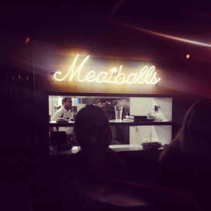 meatballs in neon