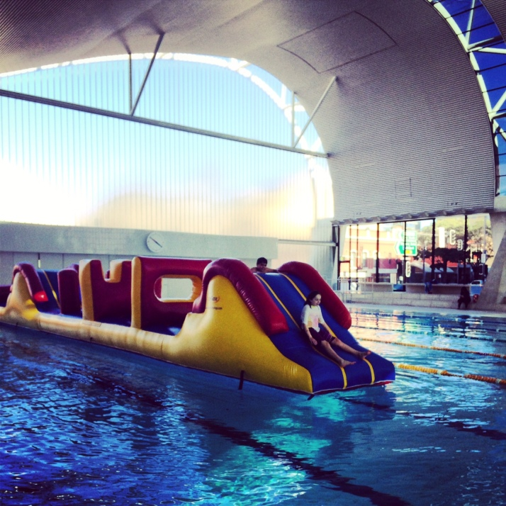where bouncy castles float on water